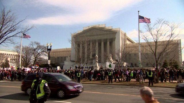 Supporters and opponents demonstrating outside the Supreme Court