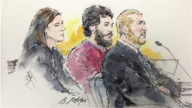 Colorado shooting suspect James Holmes and his lawyers (courtroom sketch)