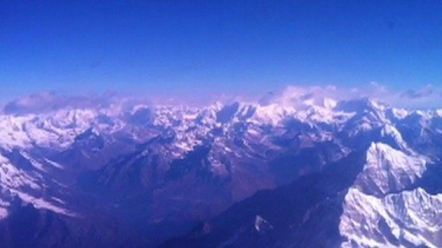 The view from the flight over Mt Everest