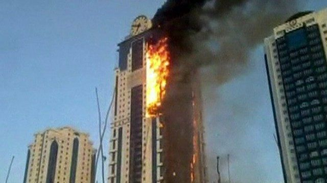 Chechen skyscraper fire