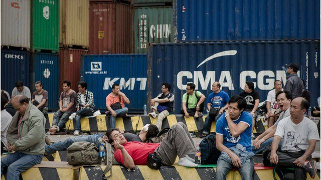 Dockers at Hong Kong's container port
