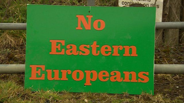 Sign reading 'No Eastern Europeans'