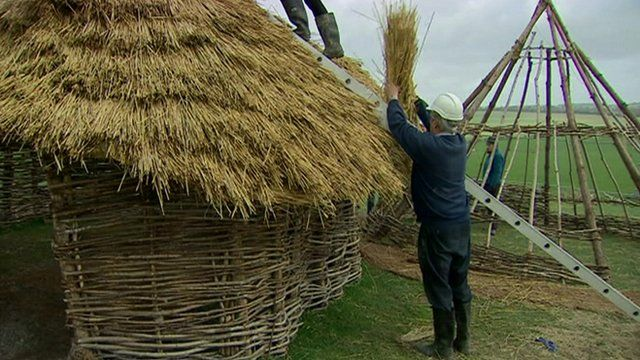 A replica Neolithic house under construction