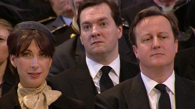 Chancellor George Osborne, Prime Minister David Cameron and his wife, Samantha