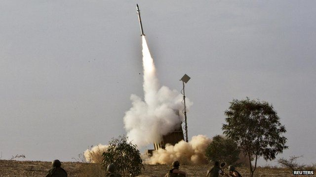 Iron Dome launcher fires inceptor rocket