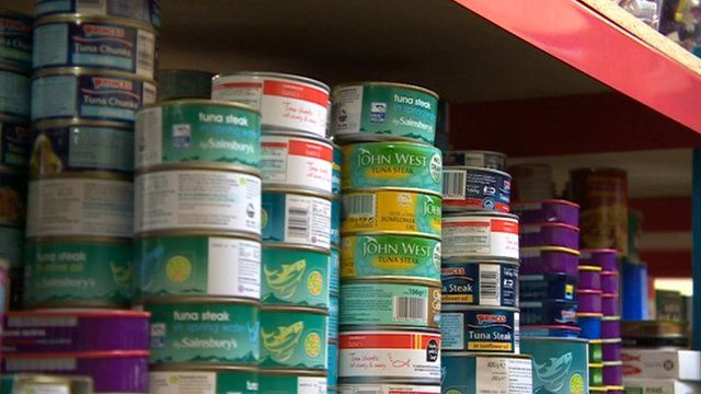 Tins in food bank