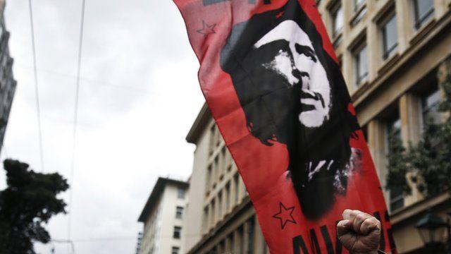 Flag bearing an image of Cuban revolutionary leader Che Guevara