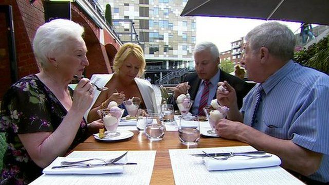 The two couples eating ice-cream in the UK
