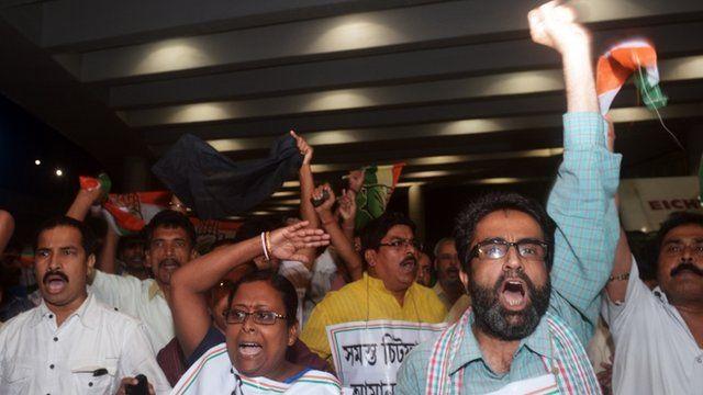 Protesters in Calcutta
