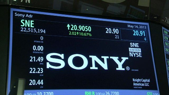 Sony share price displayed at NYSE