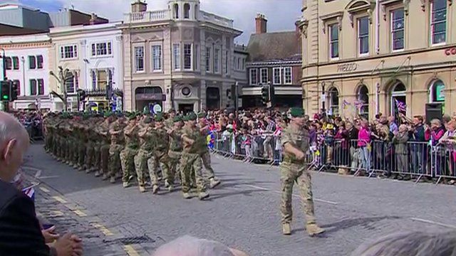 Members of 40 Commando marching through Taunton town centre