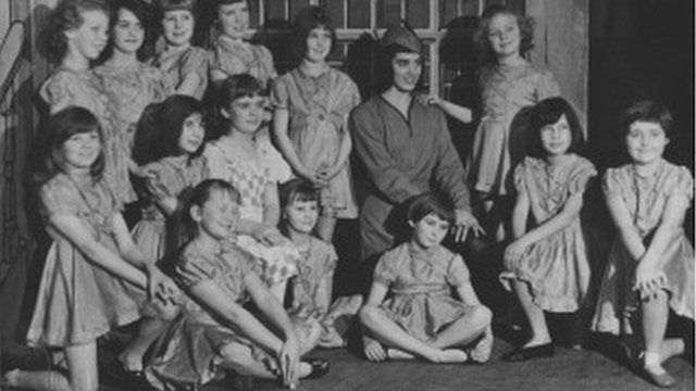 Children in pantomime Humpty dumpty in the 1960s