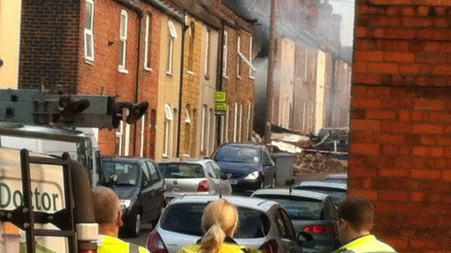 Aftermath of an explosion in Newark, Nottinghamshire