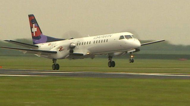 Darwin Airline flight landing