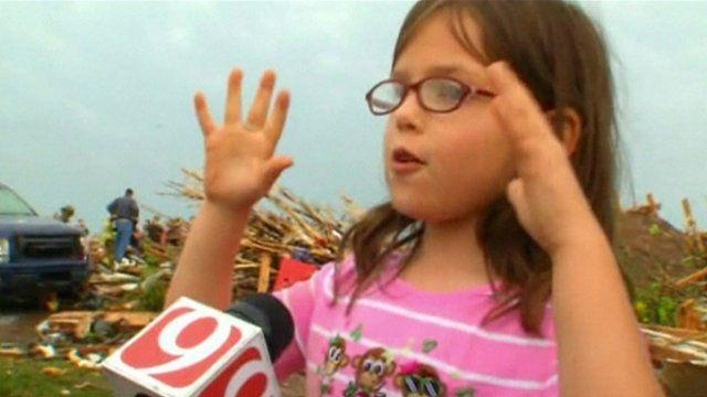 Girl from tornado-flattened school