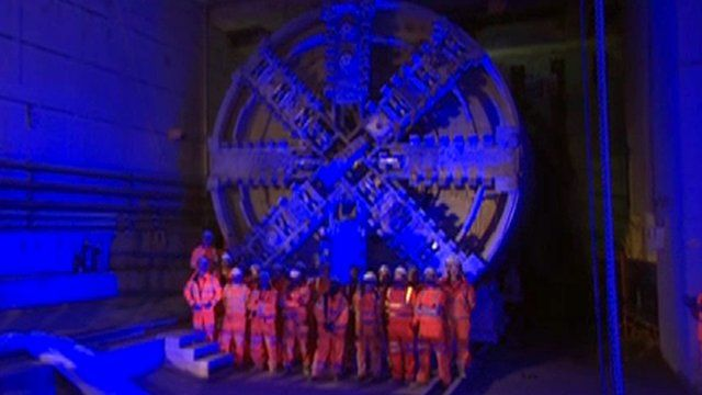 Under Canary Wharf where a Crossrail station is under construction