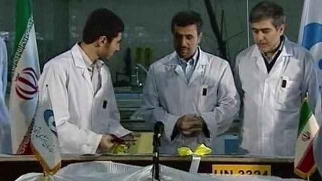 Mahmoud Ahmadinejad at a nuclear facility