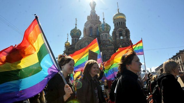 Gay rights march in St Petersburg