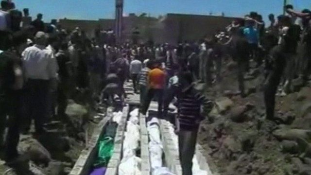Bodies lined up in Syria