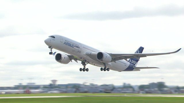 The Airbus A350 taking off