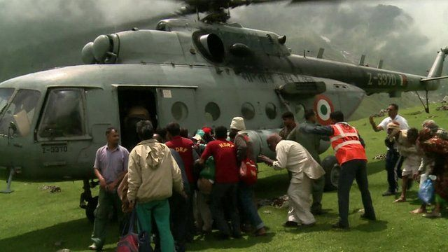 Helicopter collecting stranded people in Uttarakhand