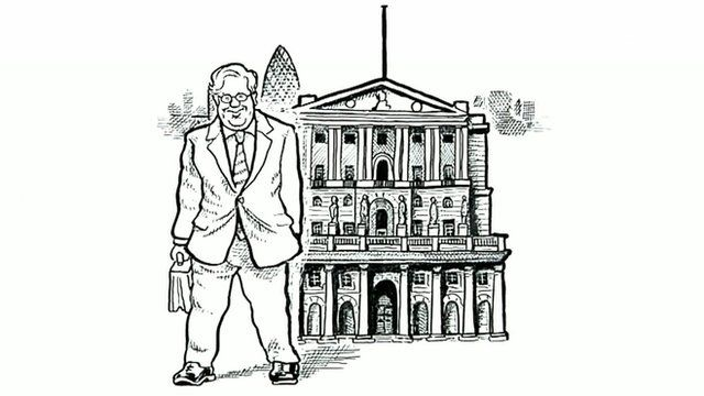 Cartoon of Sir Mervyn King outside the Bank of England