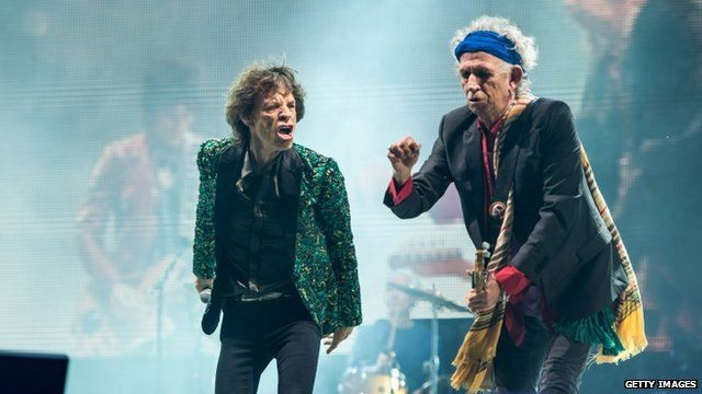 Sir Mick Jagger and Keith Richards of The Rolling Stones perform on the Pyramid Stage