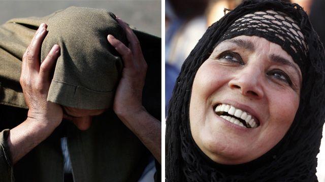 A Morsi supporter and an anti-Morsi protester