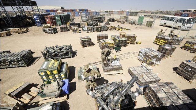 Empty ammunition boxes and explosive containers are checked in from the battlefield and certified free from explosives before being redeployed back to the UK from Camp Bastion, Afghanistan