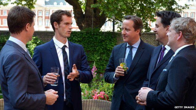 Andy Murray with Nick Clegg, David Cameron, Ed Miliband and Angus Robinson