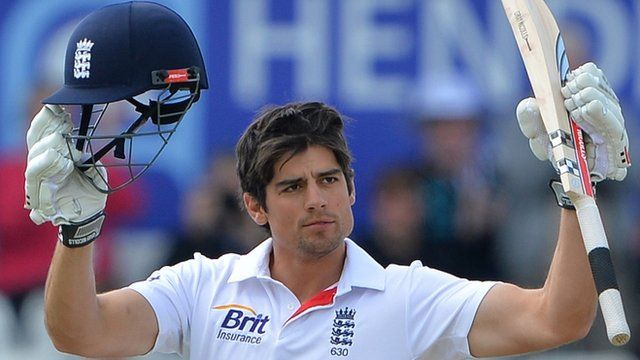 """A picture dated May 27, 2013 shows England""""s Alastair Cook celebrating reaching his century during the fourth day""""s play in the second international cricket Test match between England and New Zealand"""