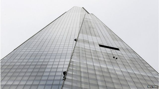 Climbers on side of Shard