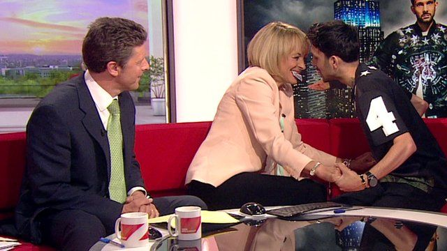 BBC Breakfast's Charlie Stayt and Louise Minchin with Dynamo