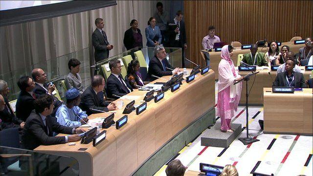 Malala Yousafzai addressing the UN