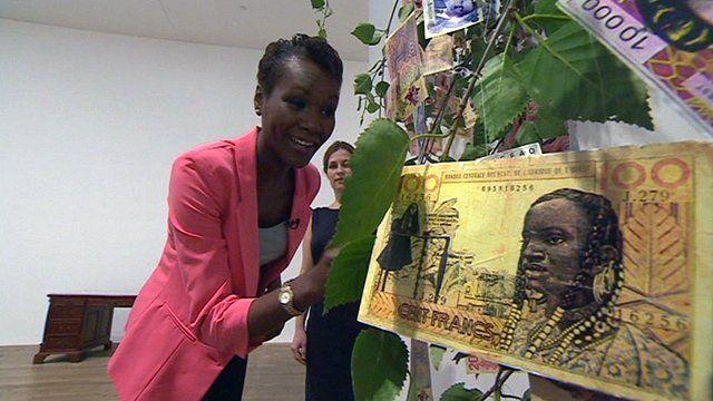 BBC Africa's Sophie Ikenye and Tate Modern's Kerryn Greenberg at Meschac Gaba's show