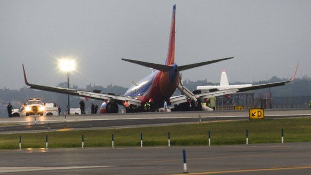 Southwest airlines plane rests on tarmac