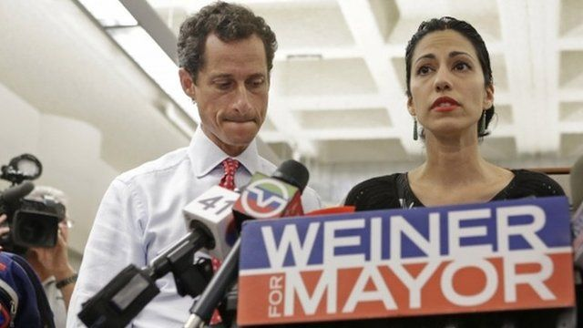 Huma Abedin, wife of Anthony Weiner, a leading candidate for New York City mayor, speaks during a press conference in New York City on 23 July 2013