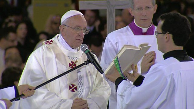 Pope Francis during the Mass
