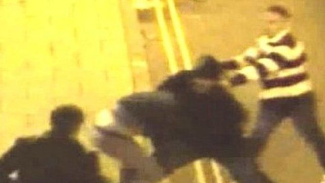 CCTV image of a street fight