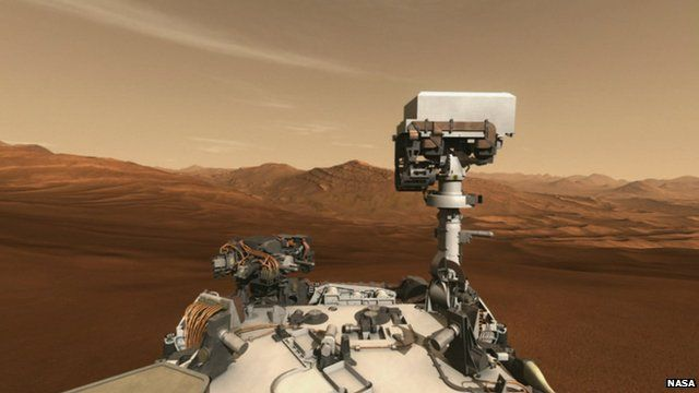 Nasa graphic showing Mars rover Curiosity on the planet's surface