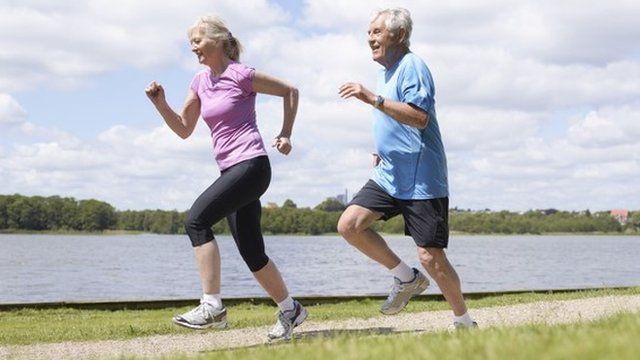 A couple jogging