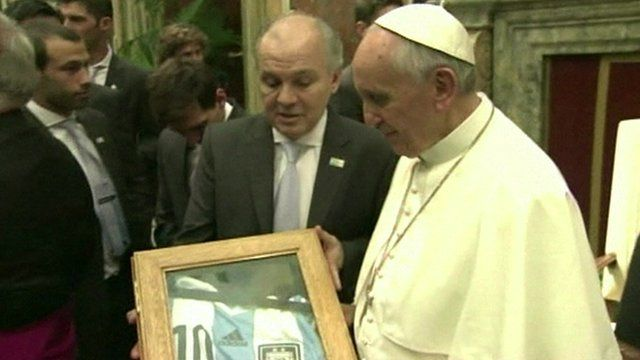 Pope Francis is gifted a personalised Argentina football shirt