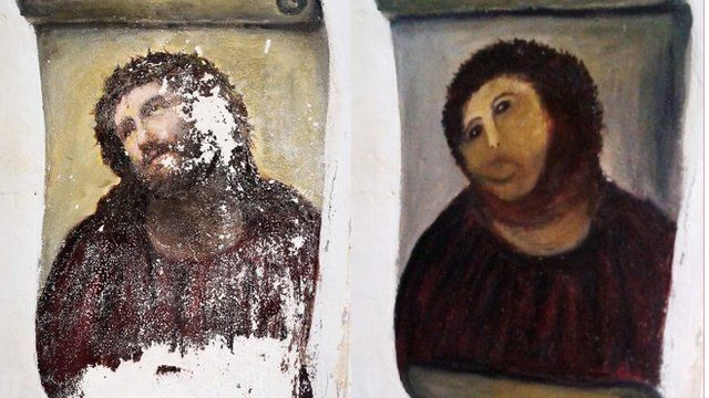 """Ecce Homo before and after """"restoration"""""""