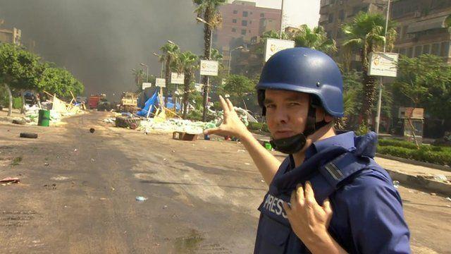 James Reynolds near the Rabaa al-Adawiya mosque