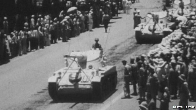 British Pathe image of Egyptian tank