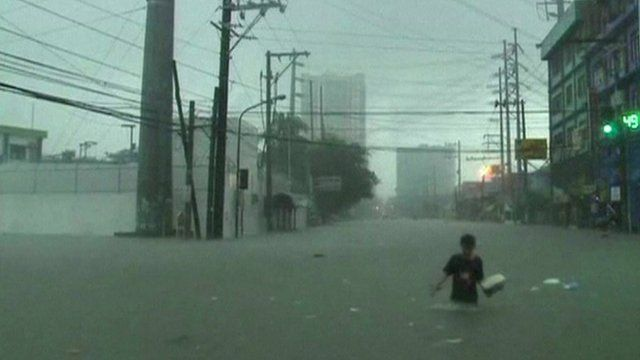 Person in water in Manila