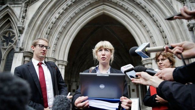 Lawyer Gwendolen Morgan, acting for David Miranda who was stopped and questioned by British police at Heathrow airport under terrorism laws, speaks to the media outside a London court