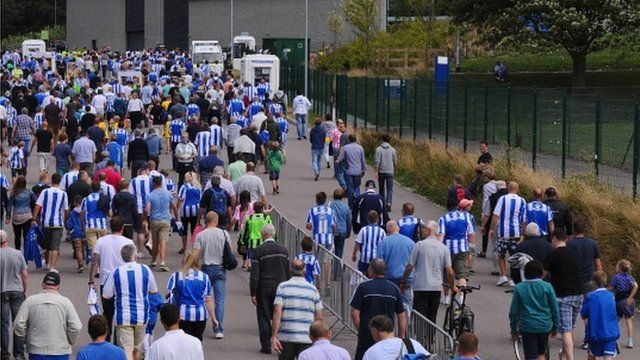 Brighton and Hove Albion fans on way to match