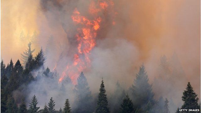 Fire near Yosemite National Park