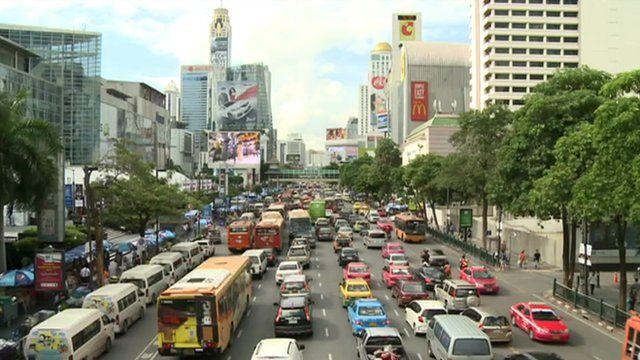 A traffic jam in central Bangkok